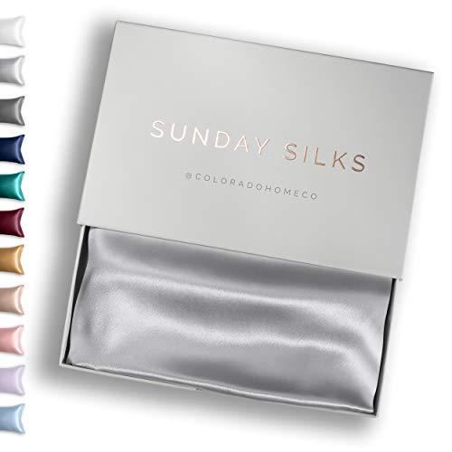 Colorado Home Co 100% Silk Pillowcase for Hair and Skin - Silver Grey Queen Size - Soft Acne Free Silk Pillow Case Slip