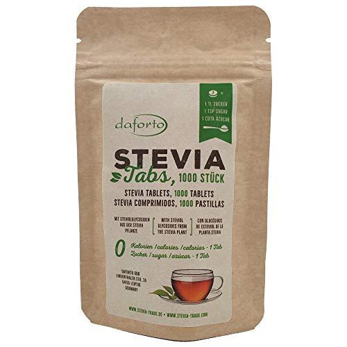 Daforto Stevia Tabs Nachfüllpackung, 1000 Stück, 1er Pack (1 x 60 g)