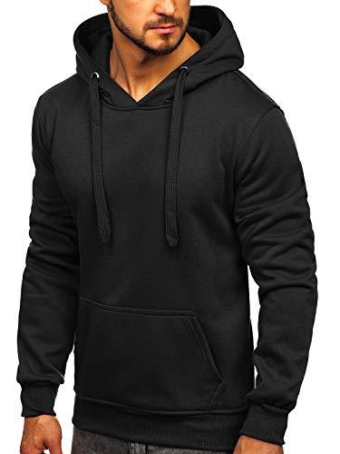 BOLF Hombre Sudadera Básica Unicolor Hoodie con Capucha J.Style 2009 Negra M [1A1]
