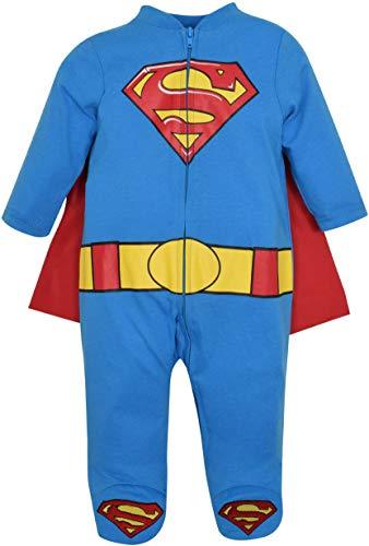 Warner Bros. DC Comics Mono Entero de Supermán con Capa y Patucos - Disfraz de Superhéroe para Bebé-Niños, Azul 6-9 Meses