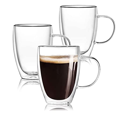 Glass Coffee Mugs Double Insulated Wall Cup with Handle | Perfect for...