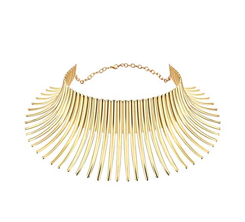 Mrotrida Women's Big African Necklace Indian Style Bending Alloy Big Thorn Statement Collar Choker Gold