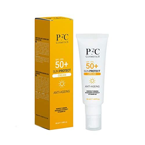 PFC Cosmetic -Mineral Sun Protect SPF 50+ Crema solare antiaging con vitamina B3 Perfect Renew Radiance Extract Lotion con protezione UVA UVB Duraturo Traspirante e idratante.