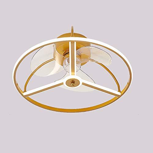 Nórdico Ventilador De Techo Con Iluminación 3 Velocidades Lámpara De Techo Fan Regulable Con APP Y Control Remoto, Luz De Techo Con Fan Silencioso Para Cuarto Comedor,Oro