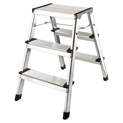 flexilife Aluminium Tritthocker Tritt Leiter Trittleiter Klapptritt bis 150 kg belastbar (2 x 3 Stufen)