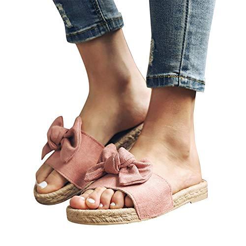 Memefood-Zapato Mujer 2019 sandalias y chanclas, alpargatas planas con aderezo de Arco para Mujeres Pink 6