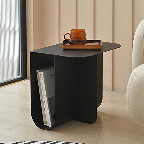 XIAOLIN Decotable, Diseño Sofá Mesa Auxiliar, Rack De Almacenamiento De Libros, Metal, Mesa De Esquina De Acero Inoxidable Moderno, Tamaño De Aproximadamente 40 X 30 X 38 Cm, Negro