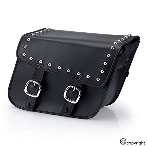 Nomad USA Slanted Studded Black Synthetic Leather Motorcycle Throw Over Saddlebags