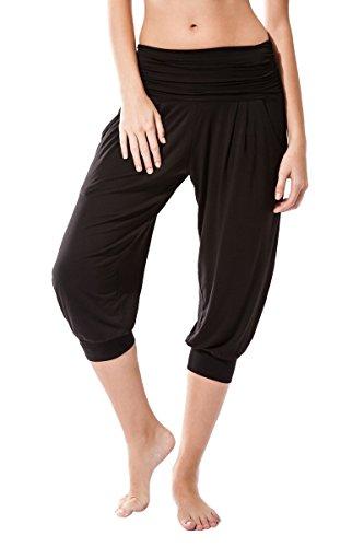 Sternitz Pantalon Fitness para Mujer, Rabi, Ideal para Hacer Pilates, Yoga y Cualquier Deporte, Tela de bambú, ecológica y Suave. Pantalón Tipo Pescador o Bombacho. Muy Cómodo (L, Negro)