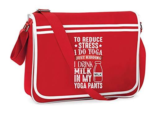 Druckerlebnis24 Schultertasche - Reduce Stress Do Yoga - Umhängetasche, geeignet für Schule Uni Laptop Arbeit