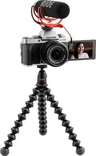 Fujifilm X-T200 Vlogger Kit, fotocamera digitale mirrorless 24MP in KIT con obiettivo XC15-45mm, Rоdе VіdеоМіс Gо, Јоbу Kit GorillaPod 1K, SDHC 16GB, Silver