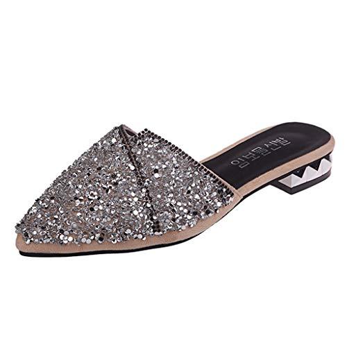 Sandalias De TacóN Alto para Mujer, Sexy Punta Delgada Zapatillas De TacóN Bajo Puntiagudas para Mujer Zapatos De Playa Casuales Zapatillas De SeñOra Salvajes