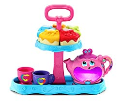 Nine-piece Playset includes a cake stand that neatly stores a magical teapot, two teacups and five slices of cake Music and tea party modes feature nine playful songs and a range of activities, including colors, shapes, numbers and sharing Choose fro...
