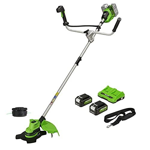 Greenworks Tools Recortadora desbrozadora Greenworks 2en1 GD24X2BCB (Li-Ion 48V 38cm/25cm de Ancho de Corte 2mm Hilo/Cuchilla 6200 RPM Mango Ajustable Modo Hi/Low, 2 baterías 4Ah y Cargador), 48 V