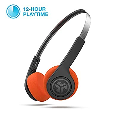 JLab Audio Rewind Wireless Retro Headphones - Bluetooth 4.2 Twelve Hours Playtime Custom EQ3 Sound Play and Pause Your Music Answer & Hang Up Phone Calls and Track Forward Throwback 80s 90s (Black)