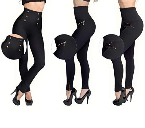 Mediashop Hollywood Pants | 3 Bodyformer Hosen in Größe: L | schwarz | 3 Designs | Shapewear Leggins | hoher Bund für flachen Bauch, optisch längere Beine und knackigen Po | Das Original aus dem TV