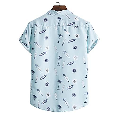 QiFei 2021 zomerhemd voor heren, hemd met korte mouwen, Hawaïhemd met button, voorzak, Hawaii-print, korte mouwen, zomershirt, vintage, polo, vrijetijdshemd, T-shirts