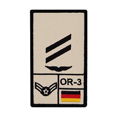 Café Viereck ® Obergefreiter Luftwaffe B&eswehr Rank Patch mit Dienstgrad - Gestickt mit Klett – 9,8 cm x 5,6 cm (Sand)