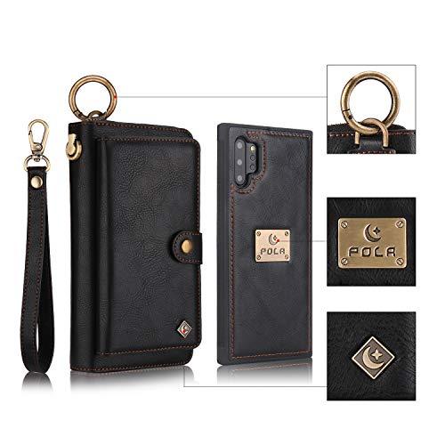Funda para Samsung Galaxy Note 10 Plus Multifuncional Flip Folio Zipper Wallet Vintage magnético Funda Protectora de Cuero Tipo Desmontable Billetera con Ranuras para Tarjetas y Stand - Negro