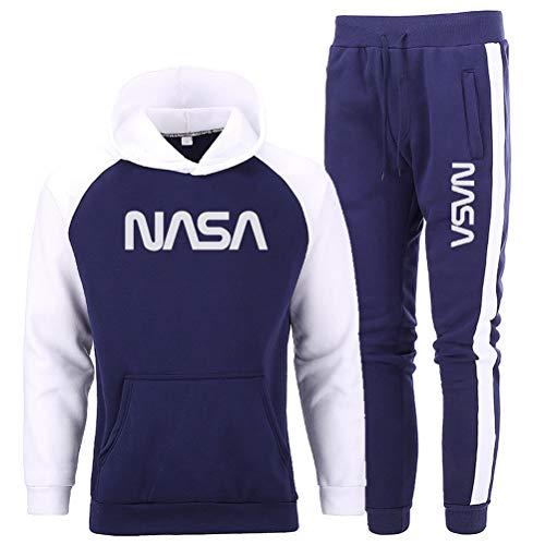 ATHIHOOD Jungen Herren NASA Druck Jogginganzug Trainingsanzug Thicken Sportanzug Hoodie Tracksuit Pullover + Sporthose (Blau,M)