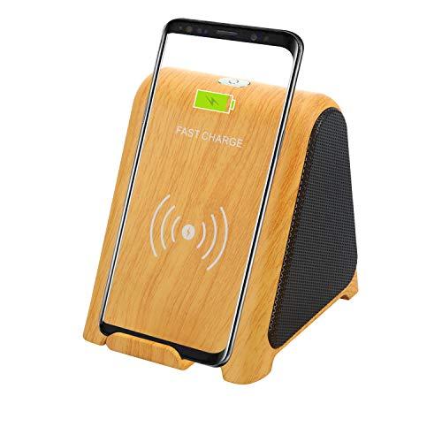 TPLISAK Cargador inalámbrico con Altavoz Bluetooth 2 en 1 Reproductor de Audio 10 W Soporte de Carga rápida Compatible para Samsung S9 S9+ S8 S8+ S7 S6 Note 8 9 iPhone X XS MAX XR 8+ (Amarillo)
