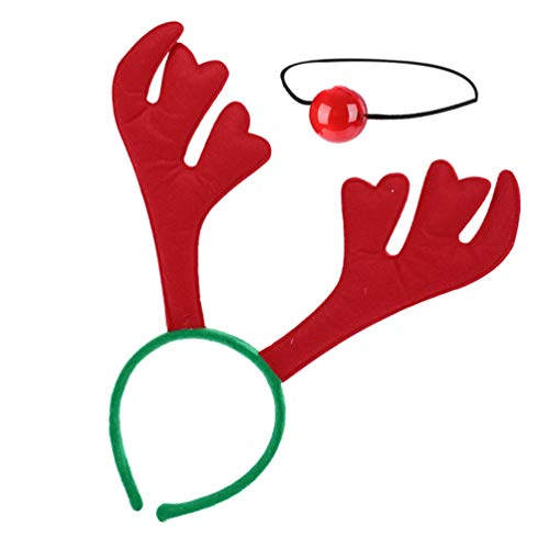 VALICLUD Christmas Reindeer Antlers Rudolf Red Nose Elk with Jingle Bells Decor Rudolph Holiday Costume Xmas Decoration for Car Truck