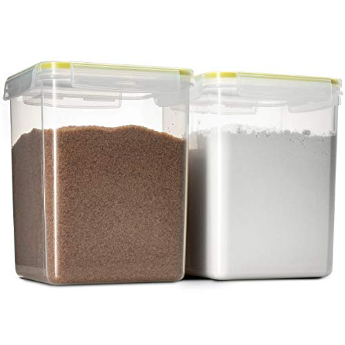Komax Biokips Flour and Sugar Storage Containers | 2 Extra Large Sugar and Flour Canisters (175-oz) | BPA-Free, Airtight Food Storage Containers | For Dry Food, Baking Supplies, Flour, Sugar and Rice