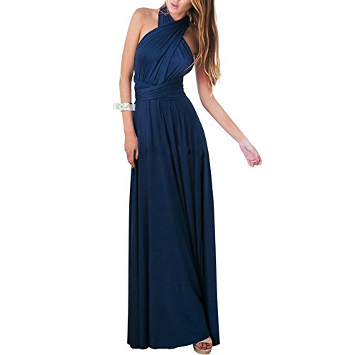 Lover-Beauty Kleider Damen V-Ausschnitt Rückenfrei Neckholder Abendkleider Elegant Cocktailkleid Multi-Way Maxikleid Lang Chiffon Party Kleid, Marineblau, (EU 36-38)M