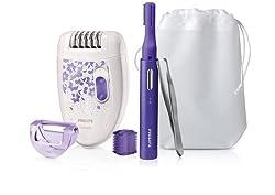 Philips 3-in-1 Set HP6543/00 – Haarentfernungsset mit Epilierer, Präzisionstrimmer und Pinzette für eine glatte Haut - jeden Tag und zu jeder Zeit