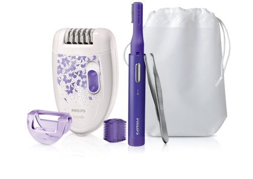 Philips Epilier-Set Limited Edition HP6540/00 Pack Depiladora para Mujer, Blanco y Dorado