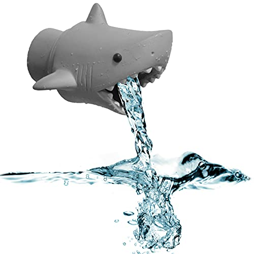 Extensor de Grifo Extensor de Grifo de Dibujos Animados Extensor de Grifo Tiburón para Lavabos Grifo para los Niños Alcanzar el Agua del Grifo 1PCS (Gris)