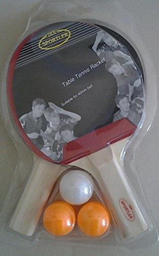Der Sportler Tischtennis-Set 2 Schläger mit 3 Bällen