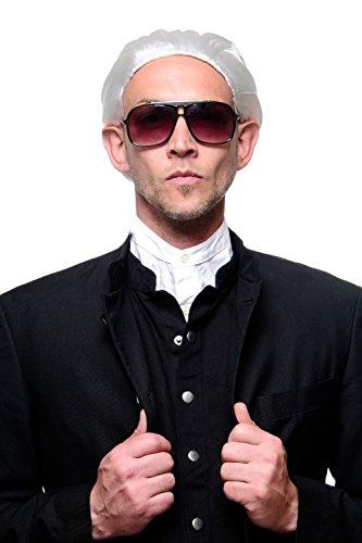 WIG ME UP ® - 4287-P68 Fasching Karneval Halloween Perücke weiß mit Zopf: Modemacher Barock Edelmann GRAF Fürst Alter Vampir Dracula