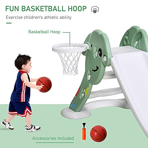 Qaba Indoor/Outdoor Kids Toy Slide with a Safety Triangle Design, Texturized Steps, & Side Basketball Hoop, Green