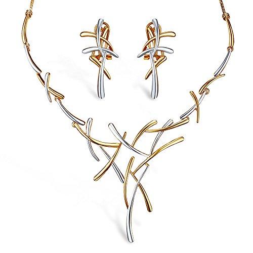 Viennois - Conjunto de joyería de Oro Rosa, Collar con Cruz y Pendientes para Mujer(Gold Silver)