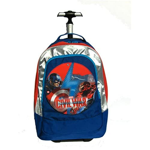 Trolley Big Zaino SEVEN - 37x48x23 cm 33lt - Captain America Civil War Cap - Cambiapattina