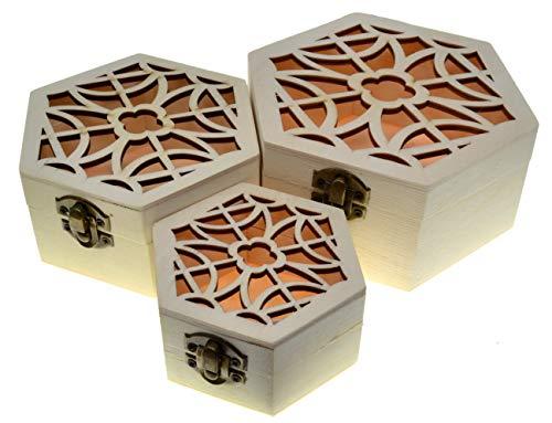 JB1 3 cajas de hexaganol Cajas nido Cofre del tesoro (paquete de 3) Caja del tesoro de madera Almacenamiento decorativo vintage Artesanía de madera Regalo Cajas de madera Caja de joyería Regalo