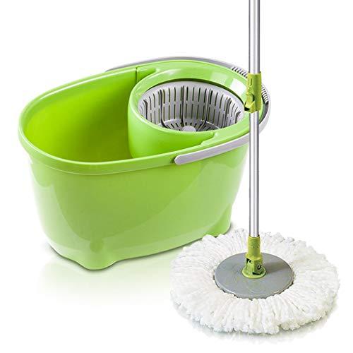 XJAXY 360 ° huishouden mop bucket vloerreinigingssysteem RVS lengte, uitgebreide handgreep met 2 Cotton mop headss, microvezel spin