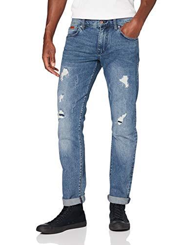 Armani Exchange 11, 5 Ounces, Medium Blue Wash, Patch & Repair Vaqueros Slim, Azul (Denim Indaco 1500), W28/L32 (Talla del Fabricante: 28) para Hombre
