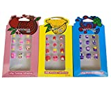 36 pcs Uñas Postizas para Niñas con Adhesivo de Uñas Cortas Acrilicas con Dibujos Divertidos