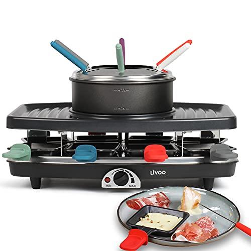 Großes Raclette Grill Set für bis zu 8 Personen - 3in1 Grill, Raclette Platte und Fondue mit Pfännchen und Holzspachtel - 1100 Watt starker Elektrogrill mit regulierbarem Thermostat