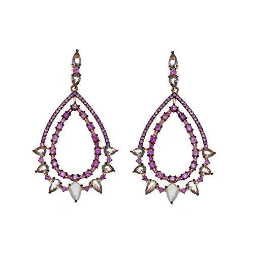 Pendientes de plata chapados con circonitas rosas, de Salvatore Plata 252A0022.