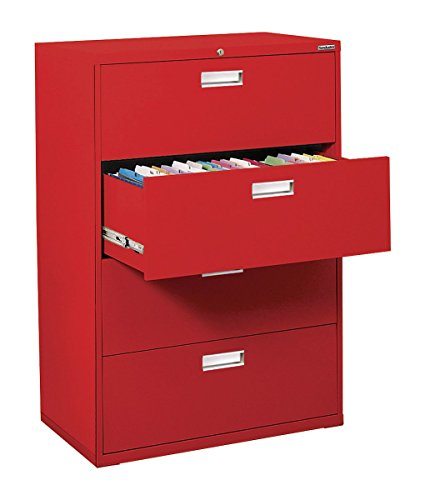 Sandusky Lee LF6A364-01 600 Series 4 Drawer Lateral File Cabinet, 19.25' Depth x 53.25' Height x 36' Width, Red