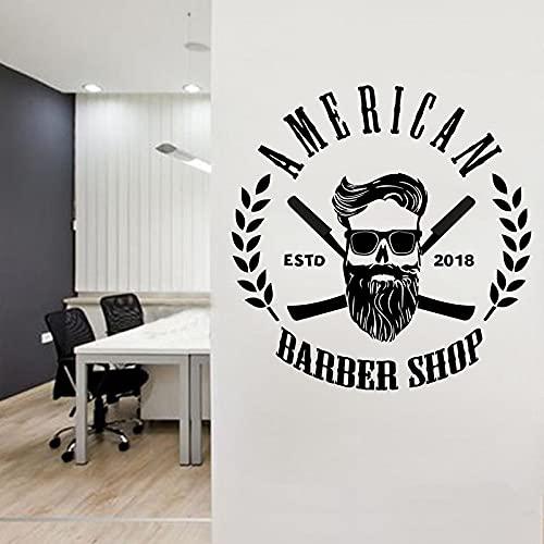AiEnmaw Barber vinilo pegatina personalizada Barber Shop Man Salon Hair Cut Barber Face Tools Logo Salon Wall Decal murales 102x104cm