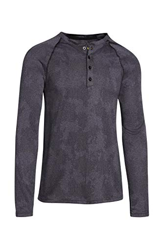 Mens Thermal Long Sleeve Henley - Dry Fit Crewneck Workout Shirt w/Buttons Anthracite