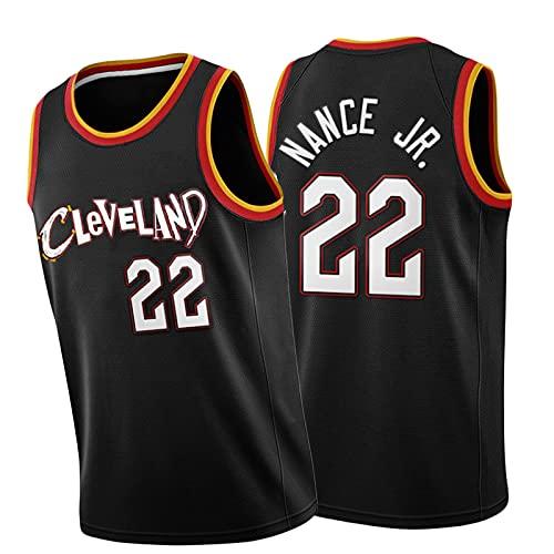 Knight 22 # NANCE JR. Maglia da pallacanestro, alla moda, sportiva all'aria aperta sciolta e comoda maglia senza maniche, traspirante e ad asciugatura rapida uniforme da basket nero-S