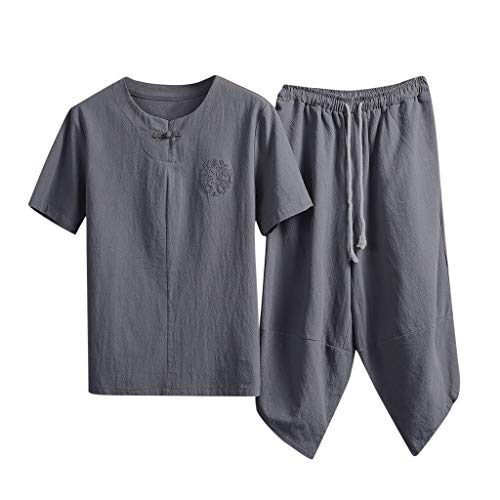 Yowablo Herren Shirt Slim-Fit Sommermode Leinen Kurzarm Kurzhose Anzug Trainingsanzug (L,2Grau)