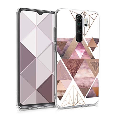 kwmobile Hülle kompatibel mit Xiaomi Redmi Note 8 Pro - Hülle Handy - Handyhülle Glory Dreieck Muster Rosa Rosegold Weiß