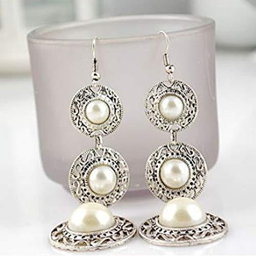 Burenqi Pendientes Pendiente De Gota De Perla para Mujer Color Antiguo De Astilla Colgante Largo Pendiente Colgante Declaración De Joyería De Oído