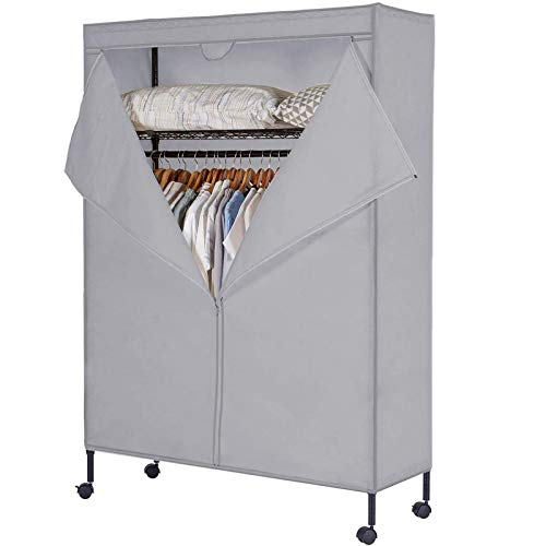 JS HOME Heavy Duty Garment Rack Free-Standing Rolling Clothes Rack with Fitted Beidge Non-Woven Cover Extra Large Wardrobe Storage RackOrganizer